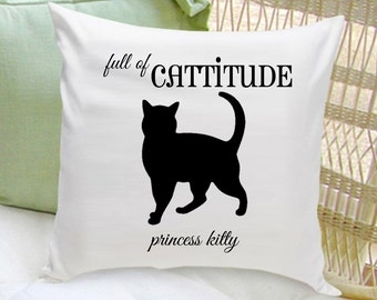 Personalized Cat Throw Pillow - Cat Silhouette Throw Pillow - Cat Lover Gifts - GC1322 SCRIPT