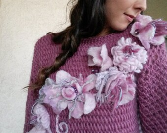 Crochet Pullover ,Jumper/Handmade Sweater/Pink Bohemian Sweater with  felted flowers/Wool pullover -Unique design/Pink Pullover