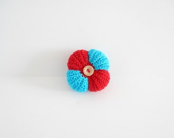 Crochet pincushion in turquoise and red cotton,handmade pincushion crocheted with turquoise and red cotton, Mother's day gift. READY TO SHIP
