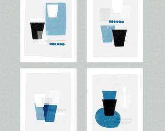 Beakers series - full set of 4 abstract kitchen wall art prints