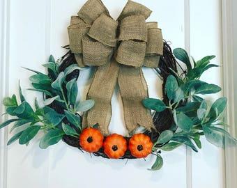 "Fall Pumpkin & Lambs Ear Cottage Farmhouse 14"" grapevine Wreath"
