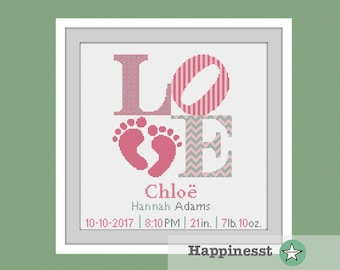 cross stitch baby birth sampler, birth announcement, LOVE, baby feet, baby girl, DIY customizable pattern** instant download**