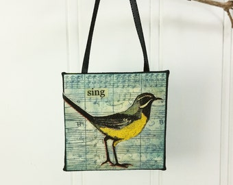 Meadowlark Little Bird Ornament, Sing Whimsical Wild Bird Word Art Mini Wall Hanging