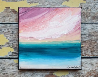 "Seascape Canvas Art | Coastal Painting | Ocean Art | Beach Decor | 6x6 | ""Summer Sunsets"" 