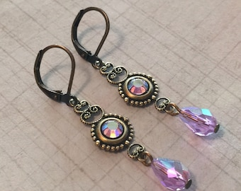 Violet AB Crystal  Antiqued Brass Filigree Leverback Earrings