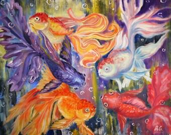 Goldfish oil painting, fish art, fish nursery wall art, fish illustration, underwater ocean decor,  Aliona Price,  20x24