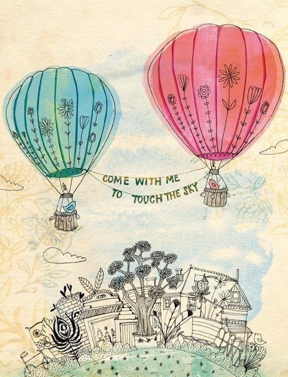 SALE Touch The Sky Wall Art Print -  illustration kids decor pink and blue hot air balloons