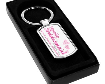 Personalized Wedding Keyring - Bridesmaid Pink Special Day Key Chain Fob Gifts Thank You Present