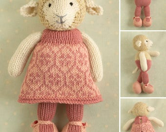 Toy knitting pattern for a girl lamb with a honeycomb and flowers patterned dress