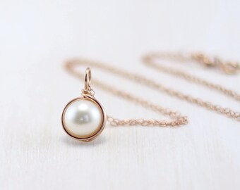 Pearl Pendant Necklace, 14k Rose Gold Filled Freshwater Pearl Necklace Wire Wrapped Rose Gold Pearl Necklace June Birthstone