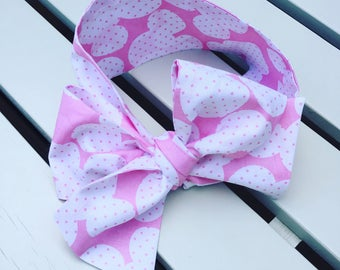 Baby or Girl's Headwrap Big Bow Cotton Headband Hairbow Hair Accessories pink and white Mickey Minnie Mouse Disney ears cotton spotty fabric