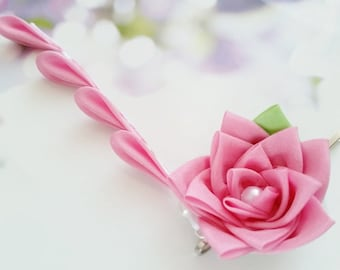 Light Pink Rose Silk Kanzashi Flower Hair Clip