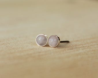 Rose Quartz Gemstone 4mm Bezel Set on Niobium or Titanium Posts (Hypoallergenic Stud Earrings for Sensitive Ears)