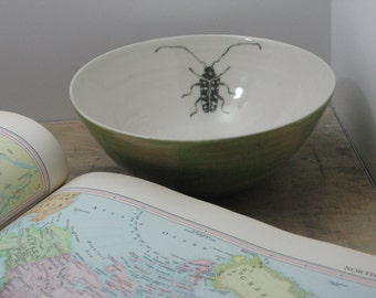 Porcelain Emerald Green Starry Sky Beetle Bowl