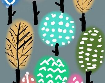 Handmade Enchanted Forest WallArt Canvas Print