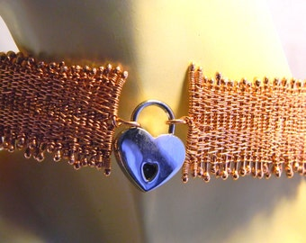 Slave CollarHandmaiden woven copper slave collar with polished nickel heart padlock fits 15 1/2 Inch  neck