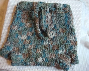 Toddler Boys Hand-Painted Wool Shortie Soaker, Cloth Diaper Cover - Misty Garden 244