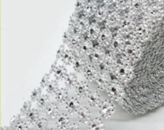 Diamond flower mesh ribbon-Bling Ribbon-Diamond Ribbon