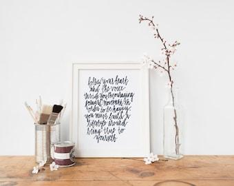 Follow Your Heart Handlettered Art Print Follow Your Heart Art Print | Handlettering | Quote |  8x10 | Inspirational Print | Wall Art