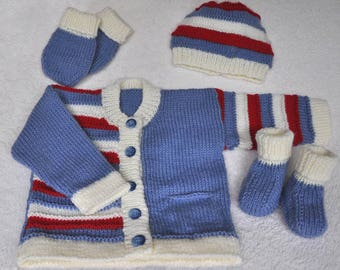 Baby or toddler's hand knitted striped cardigan/jacket set. Baby knits, baby clothes, baby wear, sweater