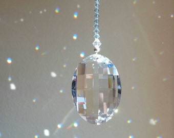 Swarovski crystal suncatcher,  blue crystal sun catcher, hanging crystal,  crystal housewarming gift, blue window decoration, light catcher