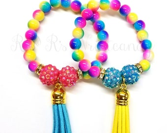Colorful Tassel Beaded Bracelets, Girls Bracelets, Best Friends Bracelets, Stretchy, Party Favors, Custom, Handmade Beaded Jewelry