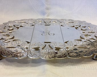 "Expandable Silver Plate Trivet Monogrammed ""A"""