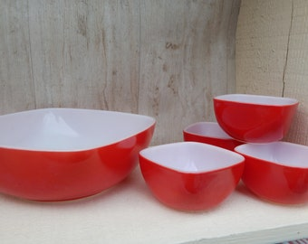 Vintage Pyrex Bowls Green Yellow Orange Pyrex Nesting Bowl