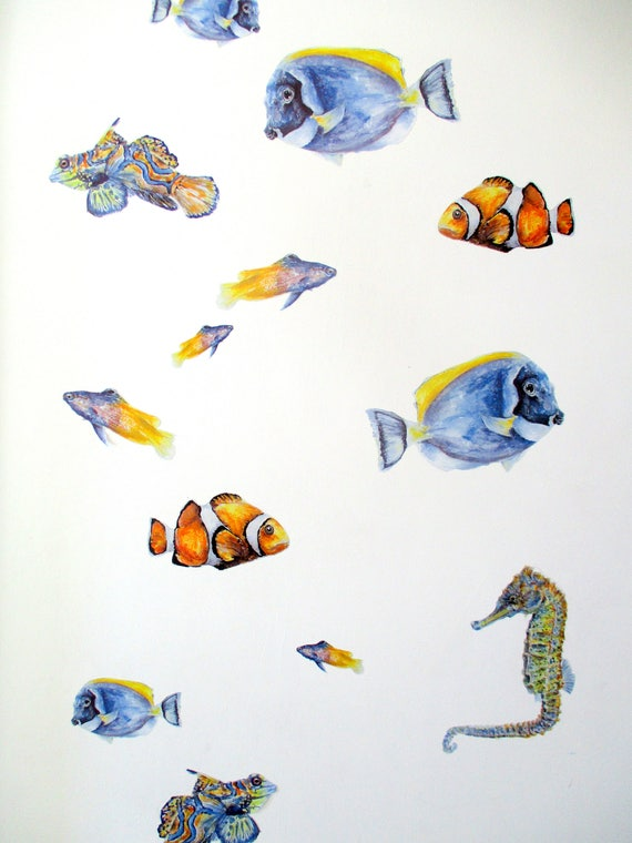 Fish Wall Stickers, Tropical Fish Decor, Underwater Wall Decals SET, Fish  Wall Art, Bathroom Decor, Sea Decals, Kids Decor, Fish Decorations
