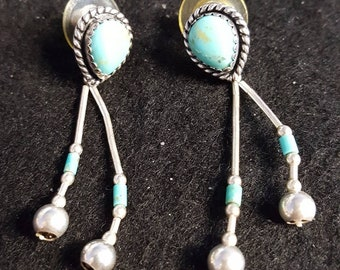 Beautiful sterling silver Native American turquoise Earrings made by Q.T.