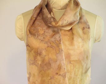 "Natural Dye Eco Fashion - Plant-Dyed Silk Scarf - Willow Rose Cranebill Ecoprint -  HA8111714  - 8""x70"" (20 x 177cm)"