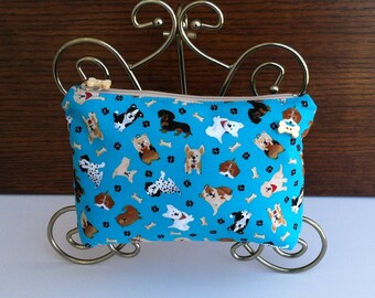 Dog Cosmetic Bag, Dog Makeup Bag, Dog Bone Make Up Bag, Dog Cosmetic Purse, Dog Bone Makeup Pouch, Dog Theme Makeup Bag, Dog Pencil Case