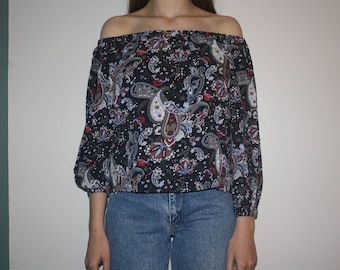 Navy Blue Paisley Off the Shoulder Top