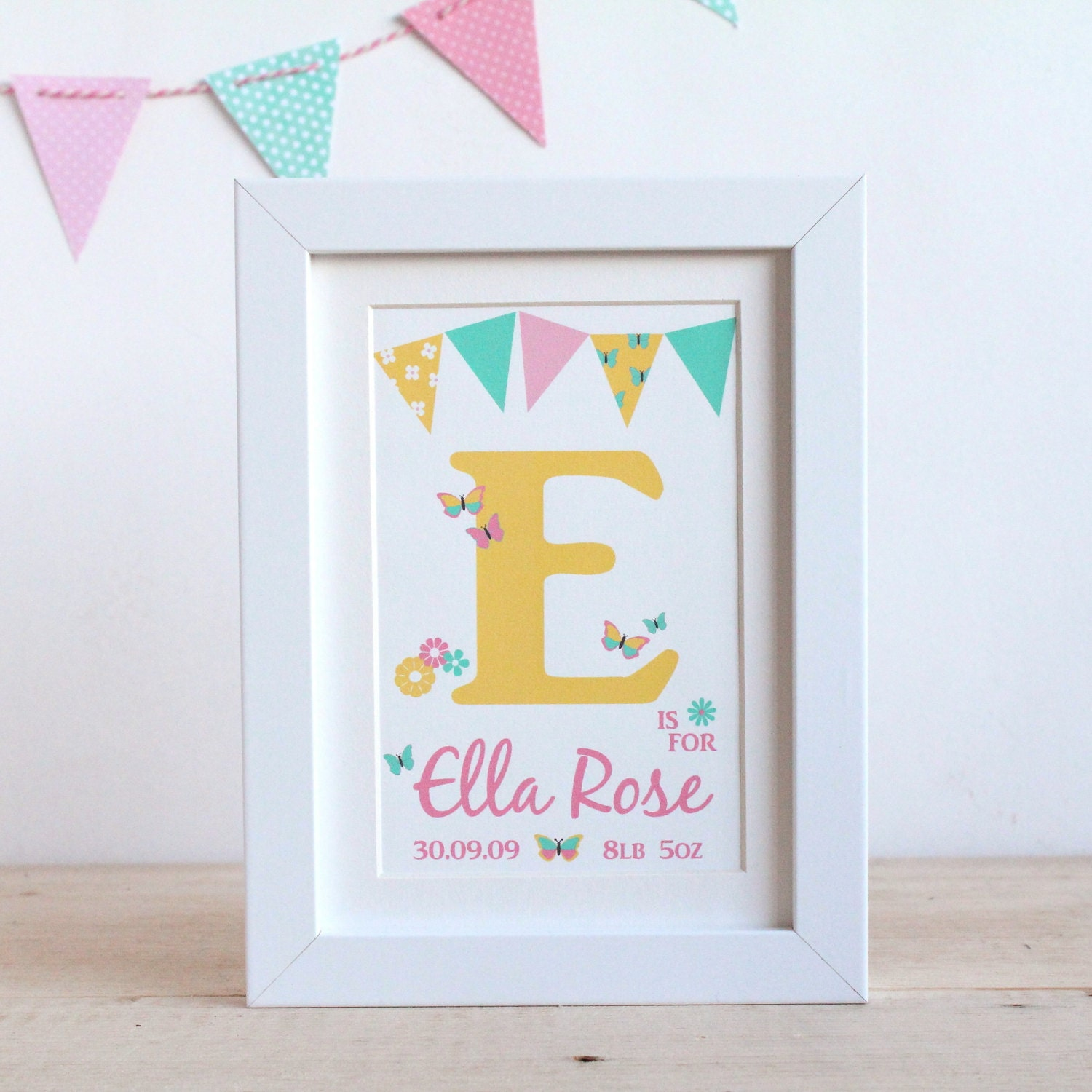 Personalised baby girls butterfly name frame print zoom negle Gallery