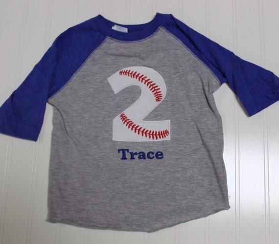 Baseball 2nd Birthday shirt, boys baseball birthday raglan sleeve shirt, two baseball boys custom name embroidered raglan, monogram baseball