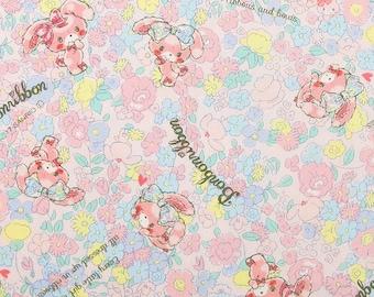 SANRIO Bon Bon Ribbon Rabbit and Flowers / Japanese Fabric 110cm x 50cm