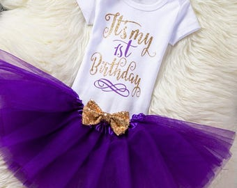 3 Pcs Set, First Birthday Outfit Girl, 1st Birthday Outfit, Cake Smash Outfit, Tutu Set, Purple And Gold 1st Birthday Tutu Set, Birthday Set
