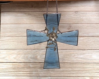 Beveled Stained Glass Cross Sun-catcher, Dogwood Vine, Cross, Christian, Blue, Hand Crafted and Made in America