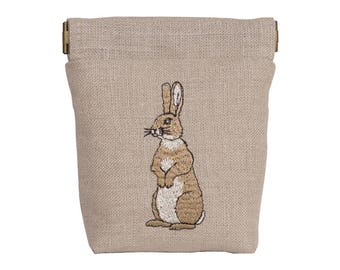 Embroidered Rabbit Snap Purse