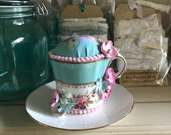 A Pretty Vintage Pincushion Cup and Saucer