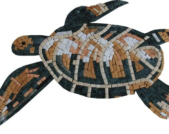 "Sea Turtle Totem 21""X13"" No Background Marble Mosaic AN529"