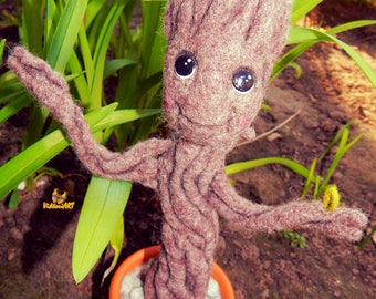 Needle felted toy baby Groot / Baby Groot / Groot from Guardians of the Galaxy / Needle felted baby groot in a pot  Groot dancing Home decor
