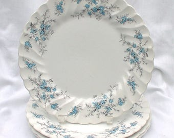 Myott Staffordshire Sound of Music Four Dinner Plates M 928 PU Blue Forget Me Nots