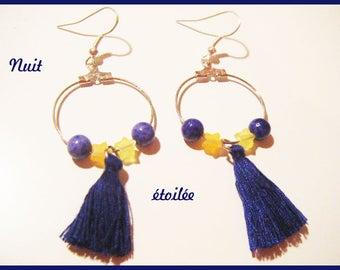 """Earrings Creole tassel """"starry night"""""""
