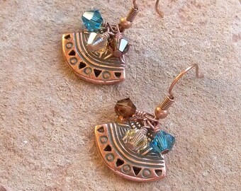 Copper Ethnic Fan Earrings with Southwest Color Swarovski Crystals