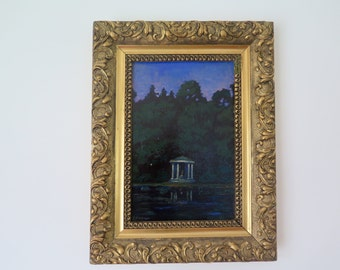 """Original Painting, Oil on Board, """"Night pavillion"""" Under a Purple Sky, Early 20th Century, Signed Eichinger, in Ornate Gilt Frame"""
