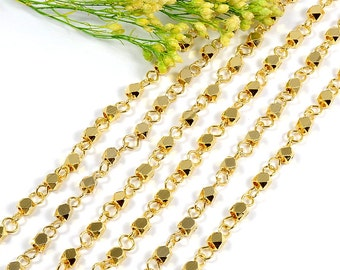 Rosary Chain, 3.5 to 4mm, Gold Chain, Tarnish Resistant, Faceted Beads Chain, Diamond Cut Rosary Chain, RETAIL - 2.5 FT+/ order