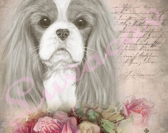Cavalier King Charles Spaniel Original Digital Collage/Blank Card/Crown