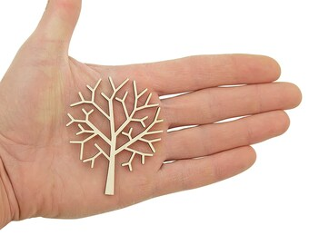 Wooden Tree (7cm) Shape Art Wood Trees Projects Craft  Decoration Gift Decoupage Ornament MG000393