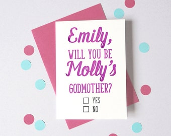 Will You Be My Godmother/Godfather Card – Personalised Godmother or Godfather Card – Card for Godparents – New Baby Card - Christening Card